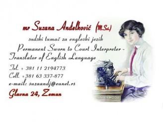 Sudski tumač za engleski jezik Suzana Anđelković